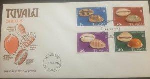 O -r ) 1980 TUVALU, SHELLS - CYPRAEA, ARGUS - SCURRA - CARNEOLA - CYPRAEA, FDC