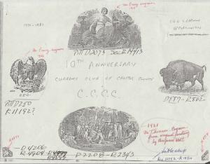 1981 10TH ANNIV CURRENCY CLUB FILE SOUVENIR CARD SCENE PROOF CERT & ORDER HV658