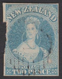 NEW ZEALAND 1857-63 2d Chalon no watermark SG9 used cat £180...............29245