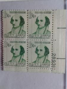 SCOTT # 1279 AMAZING GALLATIN  1 1/4 CENT PLATE BLOCK MINT NEVER HINGED GEM