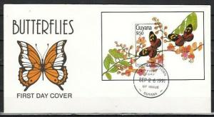 Guyana, Scott cat. 2344. Butterflies s/sheet on a First Day Cover.