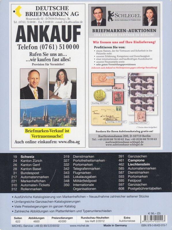 Michel Schweiz-/Liechtenstein Spezial 2012, specialized stamp catalog, color