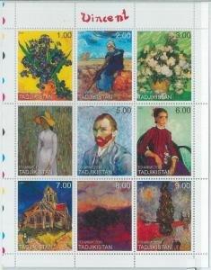 Tajikistan 1999 VINCENT VAN GOGH Paintings Sheet Perforated Mint (NH)