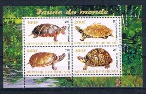 Burundi 2011 M/S Turtle Tortoises Reptiles Marine Animal Faune Nature Stamps MNH