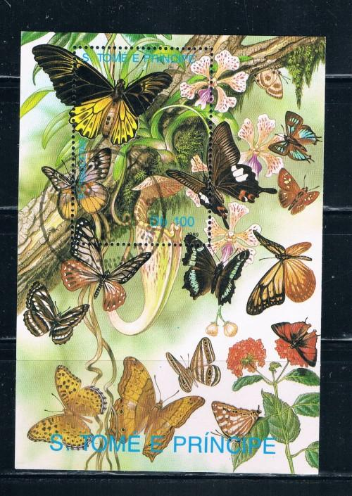 St Thomas and Prince Islands 903 Souvenir Sheet Used Butterflies (S0148)