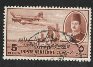 EGYPT Scott C55 Used 1952 airmail with King of Egypt and Sudan opt