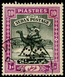 SUDAN SGO20, 10p black & mauve, FINE USED. Cat £50.