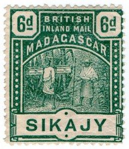 (I.B) Madagascar Postal : British Inland Mail 6d (Sikajy)