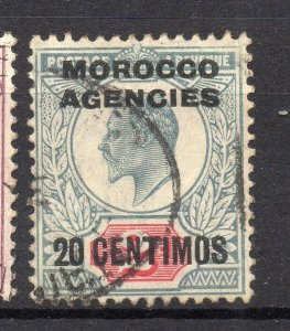 Morocco Agencies ED VII Issue Fine Mint Hinged 20c. Optd Surcharged NW-14115