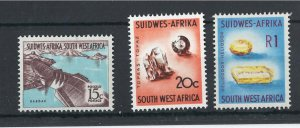 South West Africa 1961 15c - 20c, 1r sg182-3, 185 um