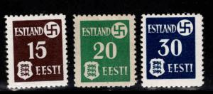 Estonia Scott N3-N5 MH* 1941 German Occupationl stamp set