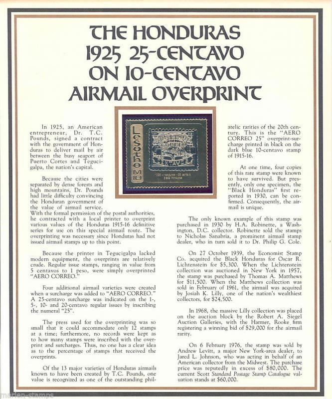 LESOTHO HONDURAS 1925 CENT ON 10 AIRMAIL COMMEMORATIVE GOLD FOIL MINT