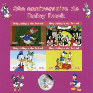 Chad Disney Stamps 2020 MNH Daisy Duck Donald Cartoons Animation 4v IMPF M/S