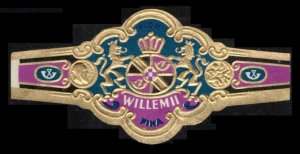 WILLEM ll FINA VERY SCARCE LARGE VINTAGE CIGAR BAND UNUSED TOBACCO CINDERELLA