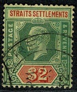 STRAITS SETTLEMENTS KG V 1912-23 2$ GREEN & RED/YEL VFU SG211a Wmk.MCCA P.14 VGC