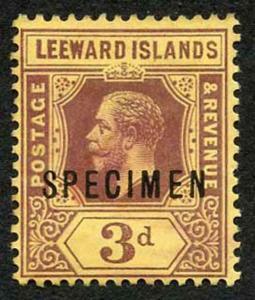 Leeward Islands SG51as KGV 3d opt SPECIMEN M/M