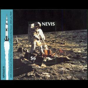 Nevis MNH S/S 590 Moon Landing 20th Anniversary SCV 4.00