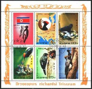North Korea. 1978. Small sheet 1790-94. Woodpeckers, birds, fauna. USED.