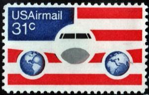 SC#C90 31¢ Plane, Globes & US Flag (1976) MNH