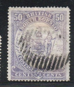 North Borneo Sc 32 1886 50c Coat of Arms stamp used