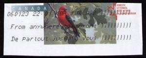 CANADA 2002 BIRDS TOPICAL CUT SQUARES #U169 SCARLET TANAGER ((V546)