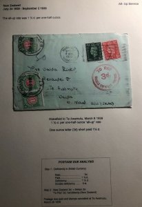 1939 Wakefield England Postage Due Cover To Awamutu New Zealand