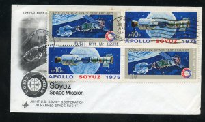 US 1570a Pair Apollo Soyuz Issue Blk  ADDR ArtCraft cachet FDC