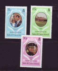 Turks & Caicos Sc486-8 1981 Royal Wedding Charles Diana NH