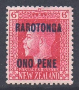 Cook Islands Scott 57 - SG52, 1919 Raratonga Opt 6d Perf 14x13.1/2 MH*