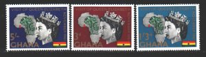 Ghana. 1961. 109-11. Queen of England visit to Ghana. MNH.