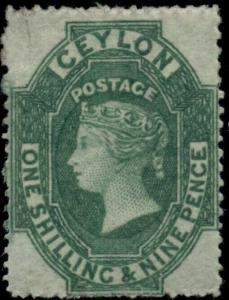 CEYLON #35, 1sh9p green, og, hinged, VF, Scott $825.00