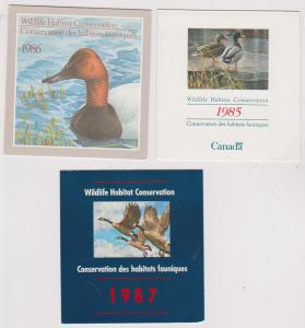 Canada - 1985-1987 Wildlife Habitat Conservation Booklets  USC#FWH1-3 Mint