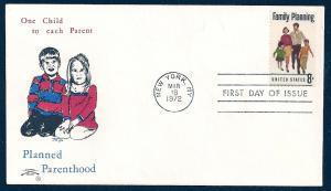 UNITED STATES FDC 8¢ Family Planning 1972 Colonial