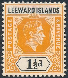 Leeward Islands 1949 1½d Yellow-Orange & Black SG102 MH