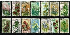 Falkland Islands.1968 Flowers. Predecimal issue. SG 232-245.