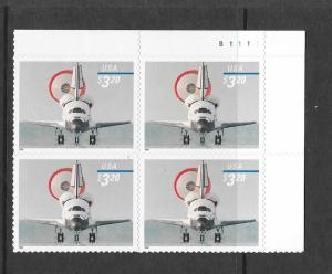 3261 MNH, $3.20, Space Shuttle Landing, T.R. Plate Block, Free Insured Shipping