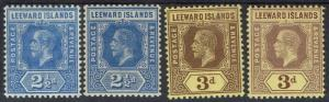 LEEWARD ISLANDS 1912 KGV 21/2D BOTH SHADES & 3D 2 SHADES WMK MULTI CROWN CA