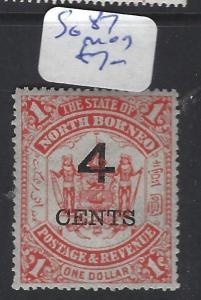 NORTH BORNEO  (P0612B) ARMS LION 4C/$1.00  SG 87  MOG