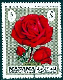 Rose, Maria Callas, Manama stamp used