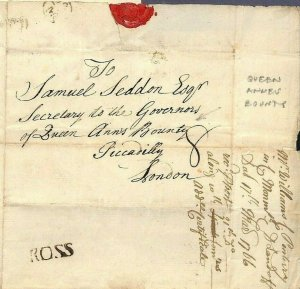 GB WALES Mon TINTERN 1766 ROSS Herefords Cover *Queen Ann's Bounty*Letter MS3800