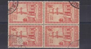 FRENCH COLONIES SOMALI COAST 1938  20C BLACKRED ORANGE   BLOCK OF 4 USED