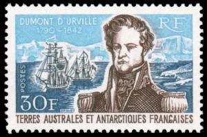 FSAT 1968 30fr D'URVILLE MNH #30 and CV$140.00