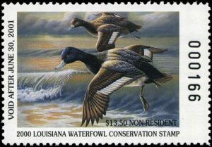 LOUISIANA #12 2000A NON-RES STATE DUCK STAMP LESSER SCAUP By Jude Burnett