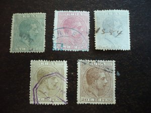 Stamps - Cuba - Scott# 100,101,103-105 - Used Partial Set of 5 Stamps
