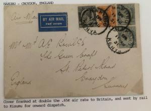 1931 Nakuru Kenya Early Airmail Cover To Croydon England Feeder Service