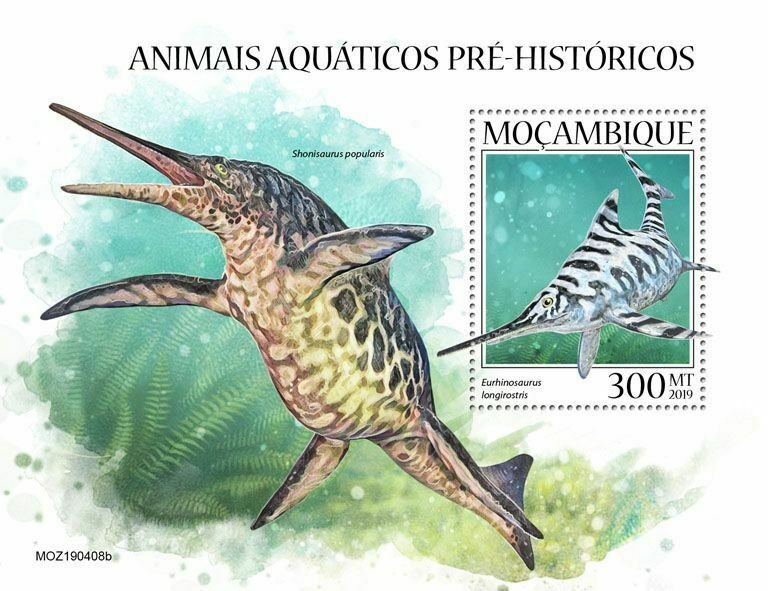 Z08 IMPERF MOZ190408b MOZAMBIQUE 2019 Prehistoric water animals MNH **
