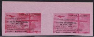 France MNH. 1946 First Aviation Show horiz Gutter Pair