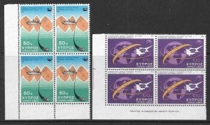 CYPRUS SG449/50 1975 TELECOMMUNICATIONS ACHIEVEMENTS IN BLOCKS OF 4 MNH