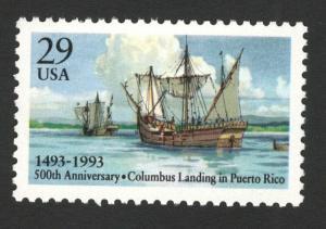 2805 Columbus Landing In Puerto Rico US Single Mint/nh Free Shipping