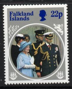 FALKLAND ISLANDS SG506w 1985 22p QUEEN MOTHER WMK INVERTED MNH